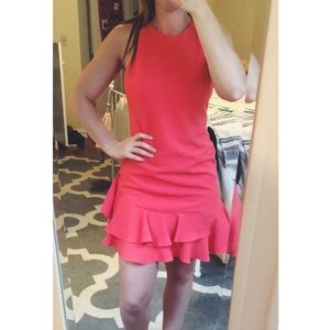 Coral Flutter Hem Dress